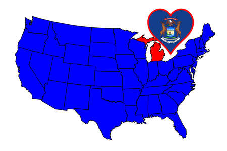 inset: Michigan state outline and icon inset set into a map of The United States of America Illustration
