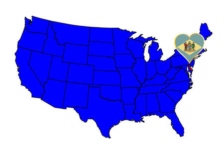 inset: Delaware state outline and icon inset set into a map of The United States of America Illustration