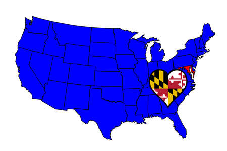 inset: Maryland state outline and icon inset set into a map of The United States of America