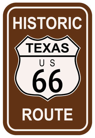 Texas Historic Route 66 traffic sign with the legend HISTORIC ROUTE US 66 Vector