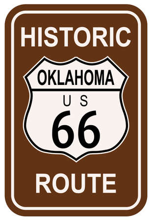 main street: Oklahoma Historic Route 66 traffic sign with the legend HISTORIC ROUTE US 66
