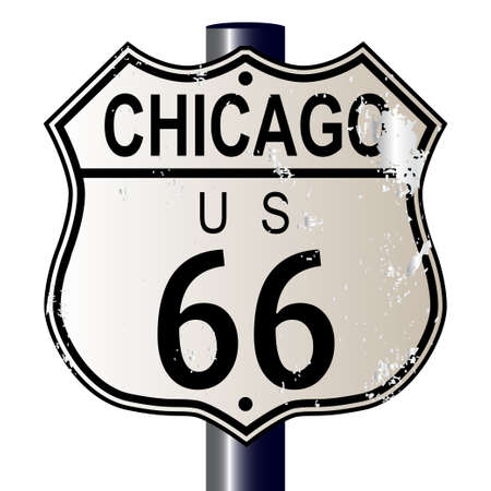 66: Chicago Route 66 traffic sign over a white background and the legend ROUTE US 66