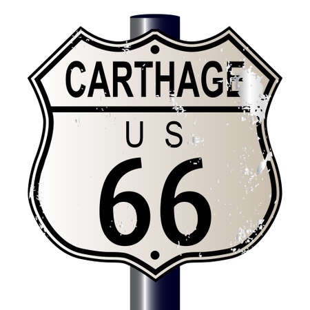 66: Carthage Route 66 traffic sign over a white background and the legend ROUTE US 66