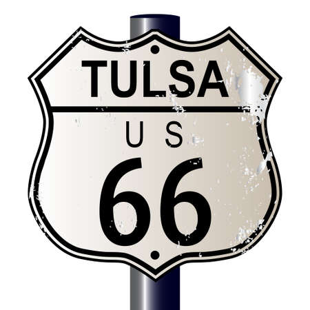 66: Tulsa Rosa Route 66 traffic sign over a white background and the legend ROUTE US 66