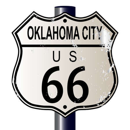 Oklahoma City Route 66 traffic sign over a white background and the legend ROUTE US 66 Vector