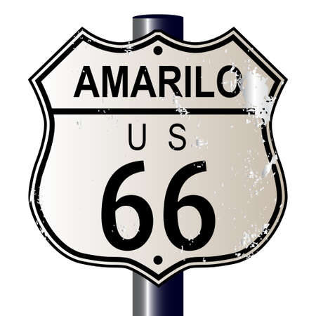 Amarillo Route 66 traffic sign over a white background and the legend ROUTE US 66 Illustration