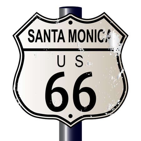 66: Santa Monica Route 66 traffic sign over a white background and the legend ROUTE US 66
