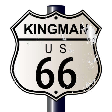 Kingman Route 66 traffic sign over a white background and the legend ROUTE US 66