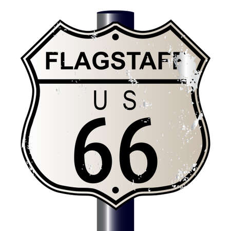 66: Flagstaff Route 66 traffic sign over a white background and the legend ROUTE US 66