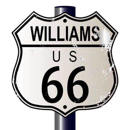 main street: Williams Route 66 traffic sign over a white background and the legend ROUTE US 66