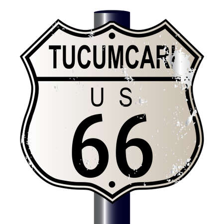 66: Tucumcari Route 66 traffic sign over a white background and the legend ROUTE US 66