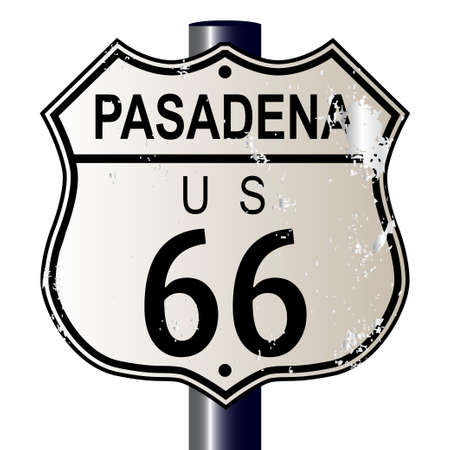 Pasadena Route 66 traffic sign over a white background and the legend ROUTE US 66 Vector