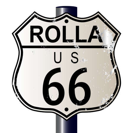 66: Rolla Route 66 traffic sign over a white background and the legend ROUTE US 66