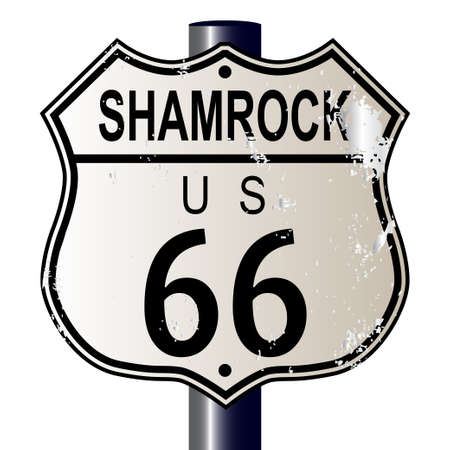 main street: Shamrock Route 66 traffic sign over a white background and the legend ROUTE US 66 Illustration