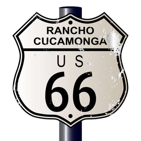 66: Rancho Cucamonga  Route 66 traffic sign over a white background and the legend ROUTE US 66