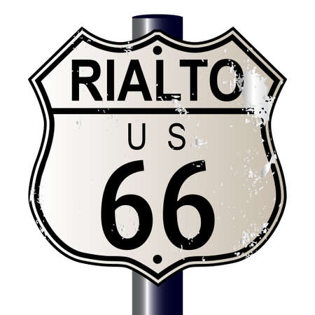 rialto: Rialto Route 66 traffic sign over a white background and the legend ROUTE US 66