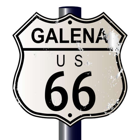 main street: Galena Route 66 traffic sign over a white background and the legend ROUTE US 66 Illustration