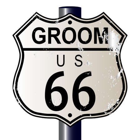 66: Groom Route 66 traffic sign over a white background and the legend ROUTE US 66