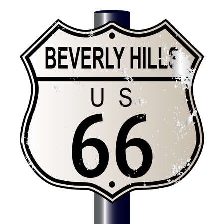 main street: Beverly Hills Route 66 traffic sign over a white background and the legend ROUTE US 66