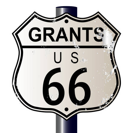 Grants Route 66 traffic sign over a white background and the legend ROUTE US 66 Vector
