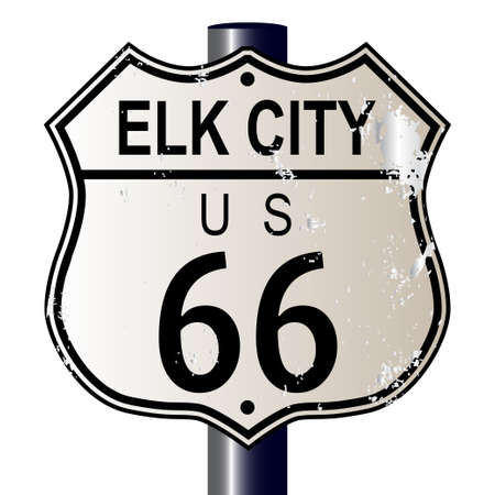 Elk City Route 66 traffic sign over a white background and the legend ROUTE US 66