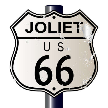 main street: Joliet Route 66 traffic sign over a white background and the legend ROUTE US 66