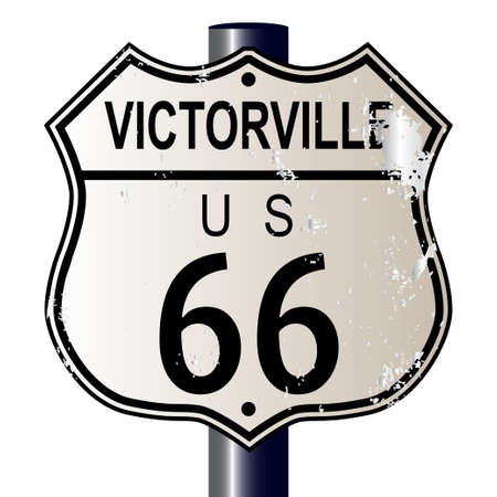 main street: Victorville Route 66 traffic sign over a white background and the legend ROUTE US 66