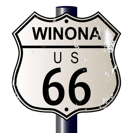 66: Winona Route 66 traffic sign over a white background and the legend ROUTE US 66