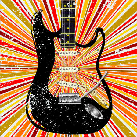 Electric Guitar with a retro grunge background design element in reds and oranges