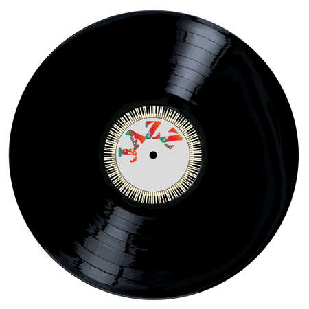 grooves: A typical LP vinyl record with the legend jazz and a circle of piano keys all over a white background.