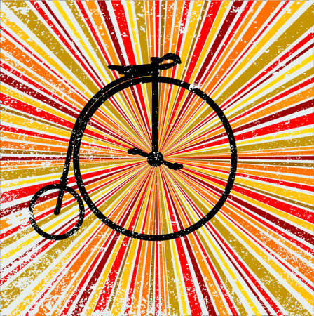 penny: Penny Farthing Bicycle over an abstract and retro grunge backround design element in reds and oranges
