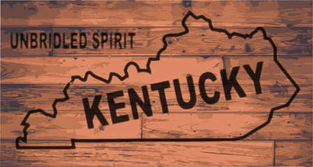 floorboards: Kentucky state map brand on wooden boards with map outline and state moto