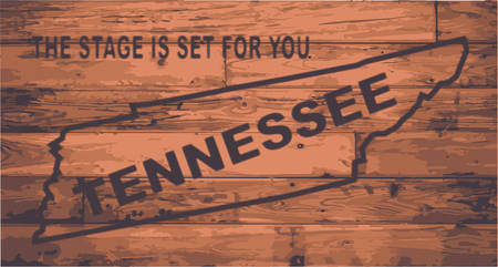 floorboards: Tennessee state map brand on wooden boards with map outline and state moto