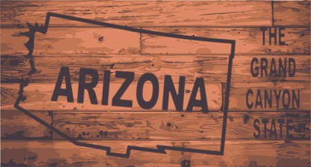motto: Arizona state map brand on wooden boards with map outline and state motto