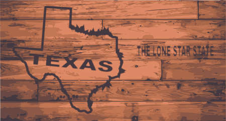 motto: Texas state map brand on wooden boards with map outline and state motto Illustration