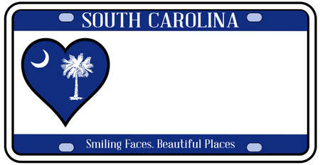 license plate: South Carolina state license plate in the colors of the state flag with icons over a white background