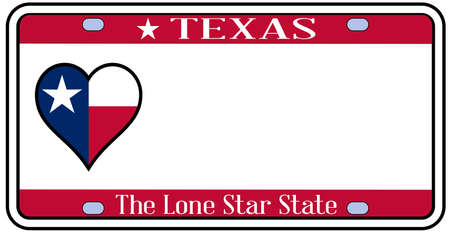 license plate: Texas state license plate in the colors of the state flag with icons over a white background Illustration