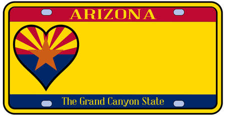 license plate: Arizona state license plate in the colors of the state flag with icons over a white background