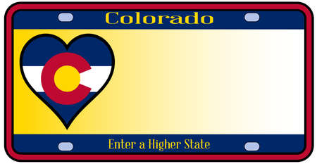 state of colorado: Colorado state license plate in the colors of the state flag with the flag icons over a white background