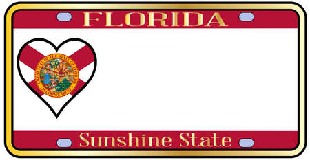 license plate: Florida state license plate in the colors of the state flag with the flag icons over a white background