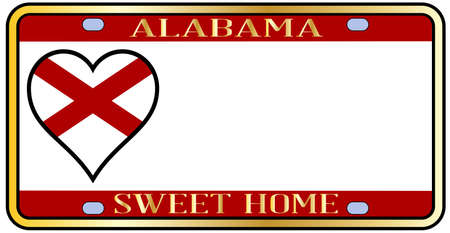 license plate: Alabama state license plate in the colors of the state flag with the flag icons over a white background