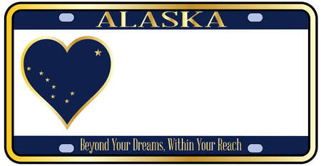 license plate: Alaska state license plate in the colors of the state flag with the flag icons over a white background Illustration