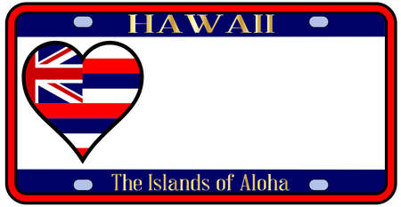 license plate: Hawaii state license plate in the colors of the state flag with the flag icons over a white background