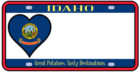 license plate: Idaho state license plate in the colors of the state flag with the flag icons over a white background Illustration