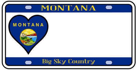 license: Montana state license plate in the colors of the state flag with the flag icons over a white background