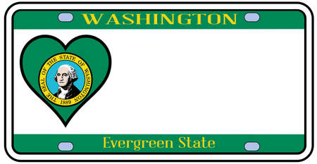 license plate: Washington state license plate in the colors of the state flag with the flag icons over a white background