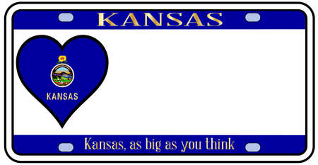license plate: Kansas state license plate in the colors of the state flag with the flag icons over a white background Illustration