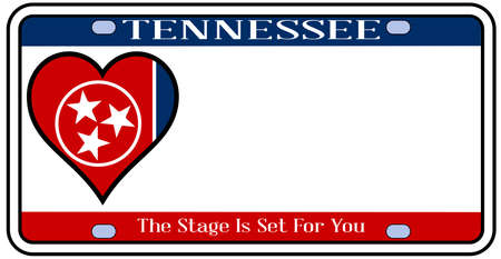 license plate: Tennessee state license plate in the colors of the state flag with the flag icons over a white background