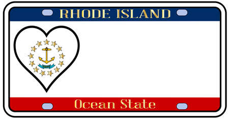 island state: Rhode Island state license plate in the colors of the state flag with the flag icons over a white background