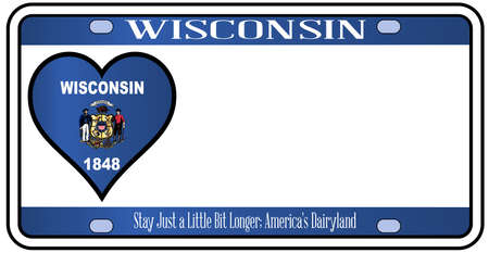 license plate: Wisconsin state license plate in the colors of the state flag with the flag icons over a white background
